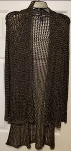 Eileen Fisher long sweater with silver threads